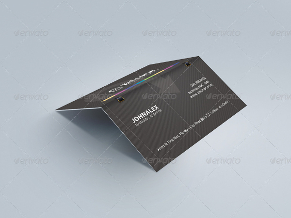Realistic Folded Business Card Mockup