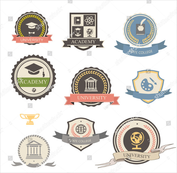 Retro College University Logo Template