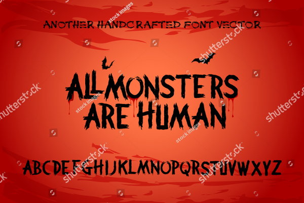 Scary Brush Alphabet Font With Horror