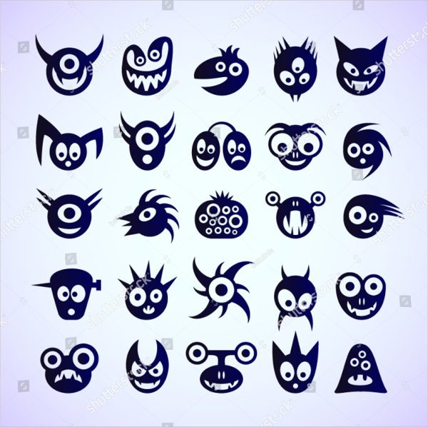 Set Of Funny Blue Monster Icons