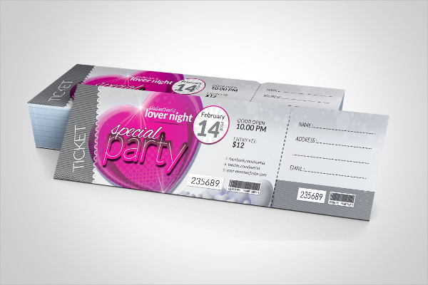 Valentines Day Event Party Ticket Mockup Template