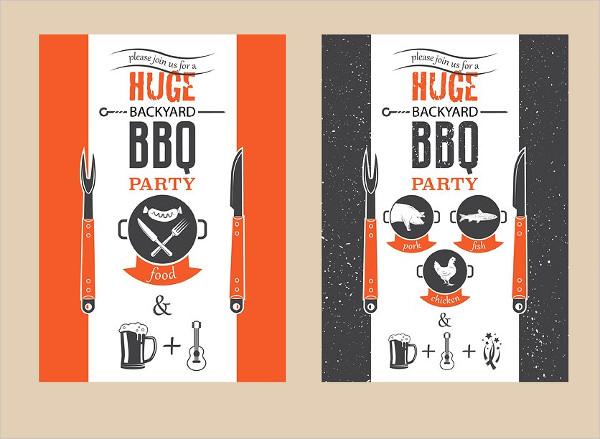 Vector BBQ Design Invitation Template