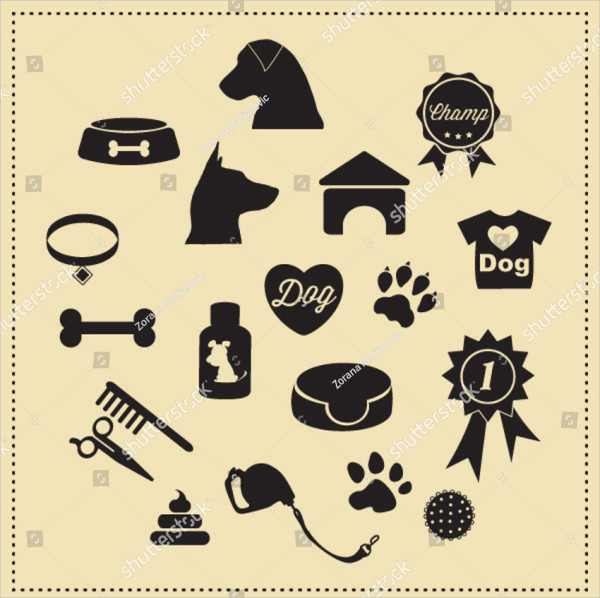 Vector Dog Icon Set Template