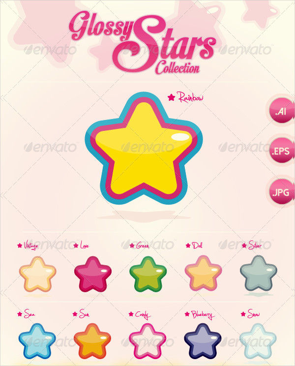 Vector Glossy Stars Icons Collection