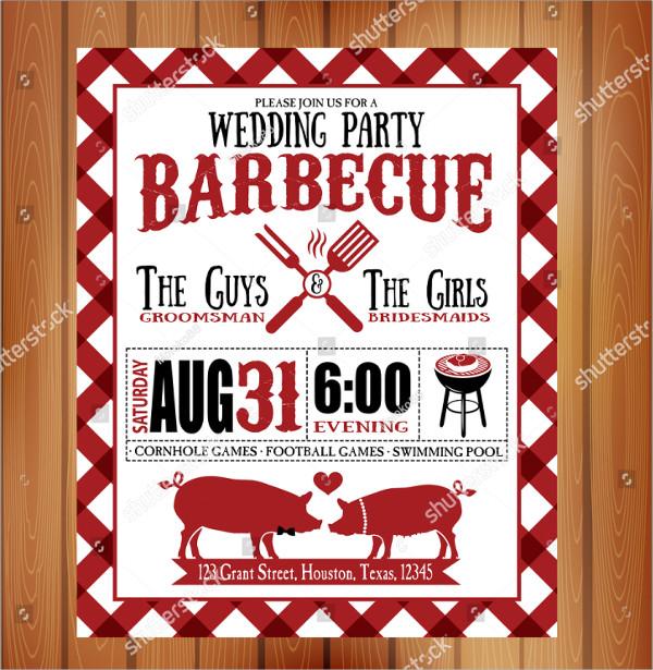 Vintage Barbecue Wedding Party Invitation Template