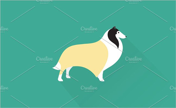 Vintage Collie Dog Icon Template