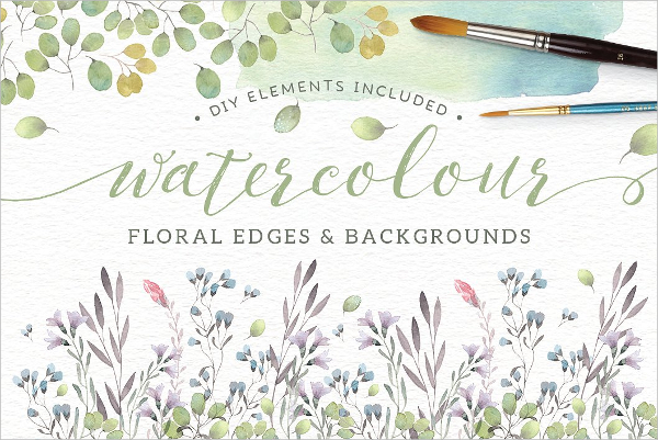 Watercolor Floral And Edges Backgrounds