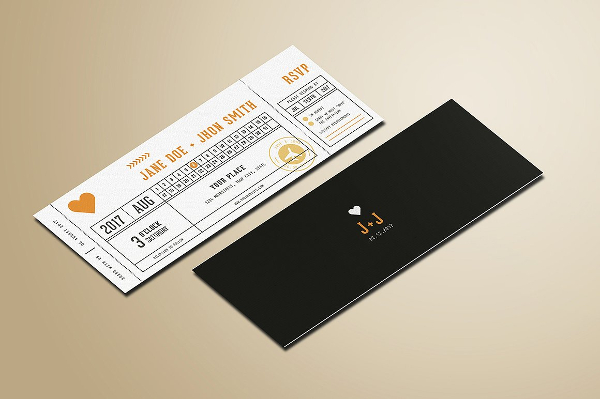 Wedding Invitation Tickets Mockup Template