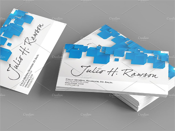 Abstract Blue Triangle Square Business Card