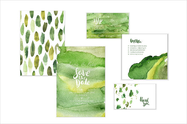Abstract Watercolor Backgrounds In Green Colors