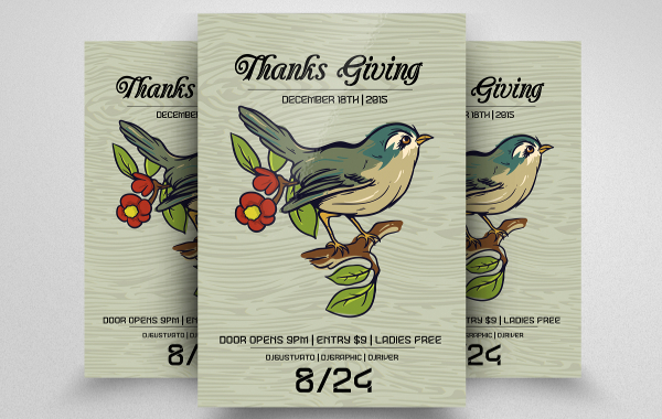 Beautiful Thanks Giving Flyer Template