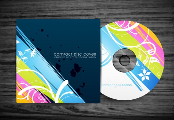 Free Vector Beautiful Stylish CD Cover Design