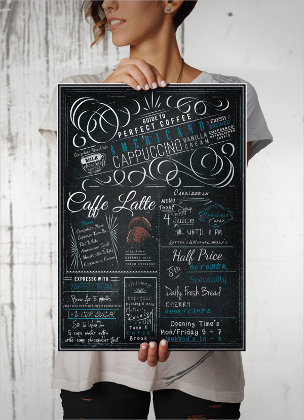 Blackboard Coffee Menu A4 Flyer