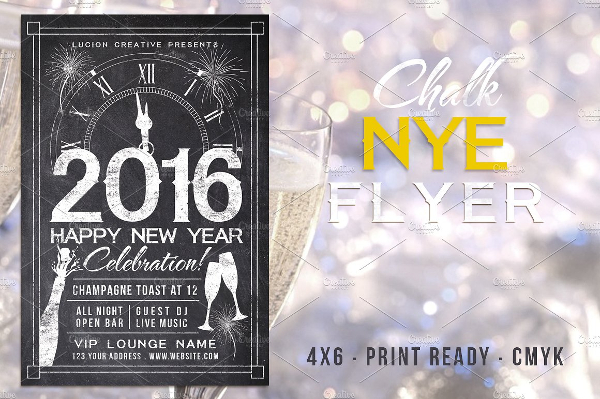 Chalk New Years Party Flyer