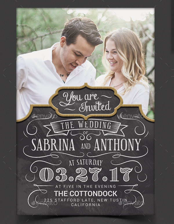 Chalk Wedding Invitaion Template
