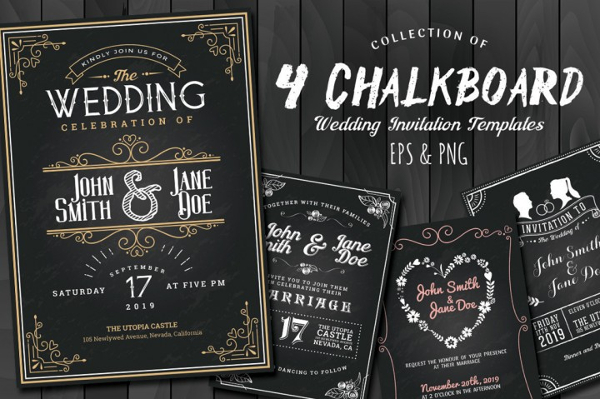 Chalkboard Style Wedding Invitaion Collection