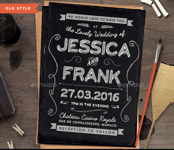 Chalkboard Vintage Wedding Invite
