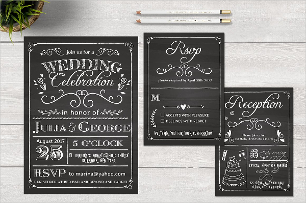 Chalkboard Wedding Celebration Invitation