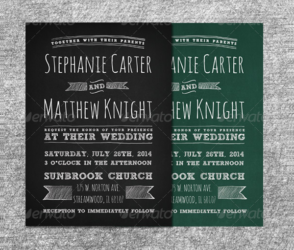 Chalkboard Wedding Invitations Set
