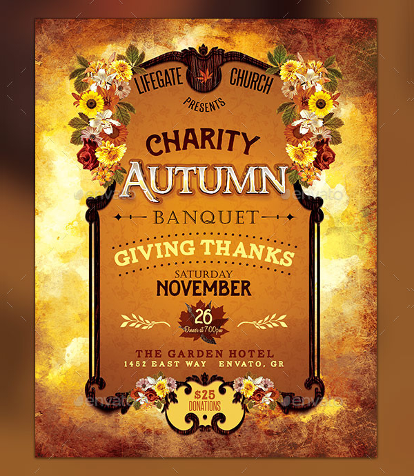 Charity Autumn Banquet Thanks Giving Flyer