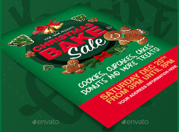 Christmas Bake Sale Vector Flyer Template
