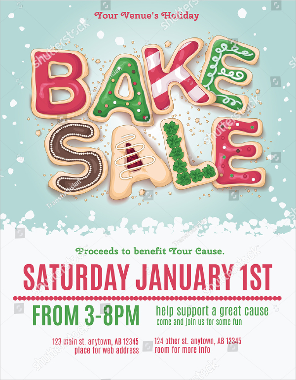 Christmas Holiday Bake Sale Flyer Template