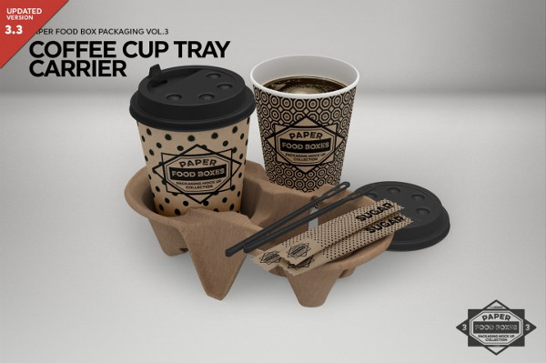 Coffee Set Tray Carrier Packaging Mockup