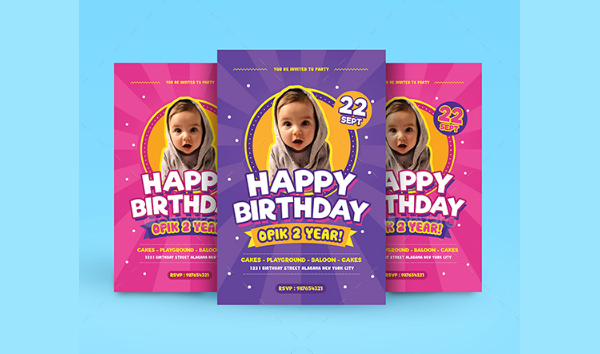Colorful Kids Birthday Invitation Flyer