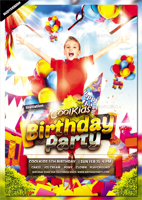 Cool Kids Birthday Invitation Flyer Template