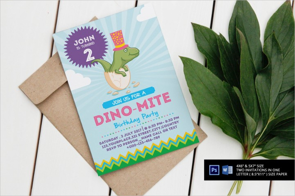 Dino-Mite Birthday Party Invitation Flyer