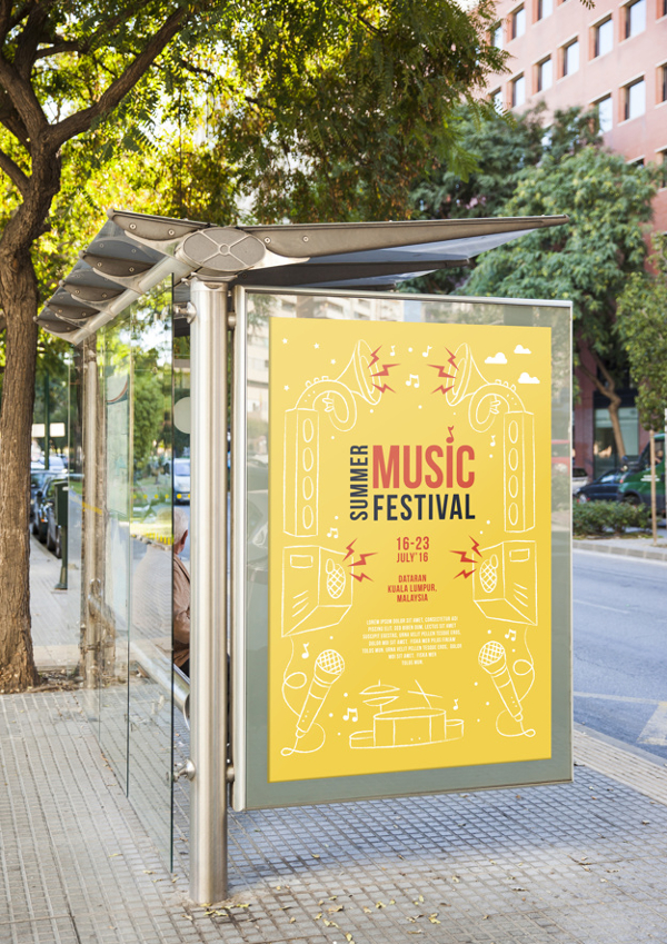 Free Billboard Bus Stop Mockup