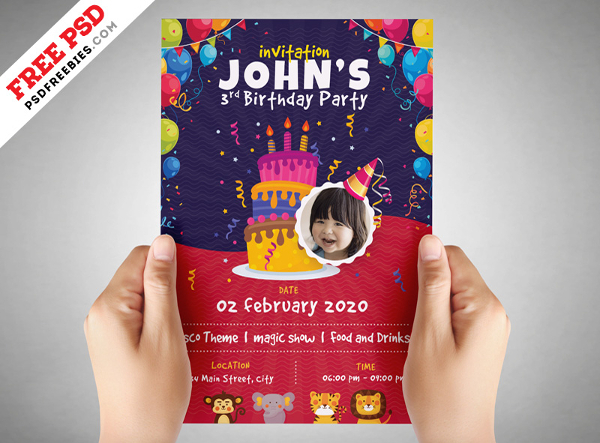 Free Kids Birthday Invitation Flyer PSD