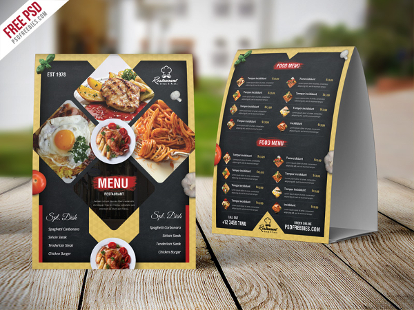 Free Table Tent Card PSD Template
