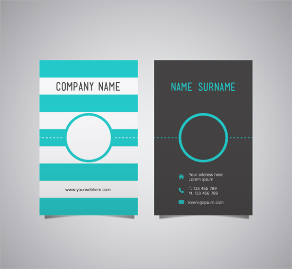 Free Turquoise Stripes Vector Business Card