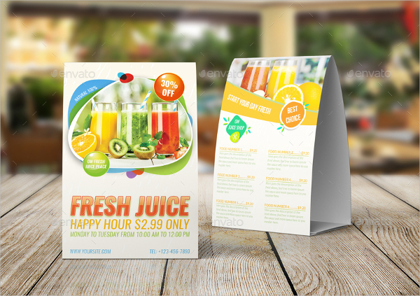 Fresh Juice Table Tent Design Template
