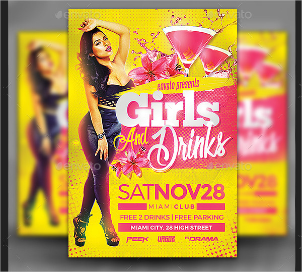 Girls Drinks Party Flyer Templates