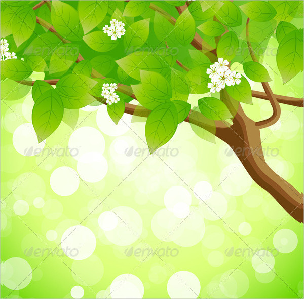 Green Background With Tree Flowers And Sparkles