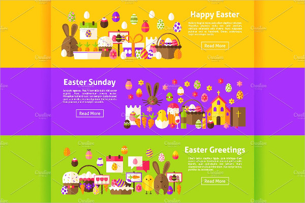 Happy Easter Flat Church Banners Template