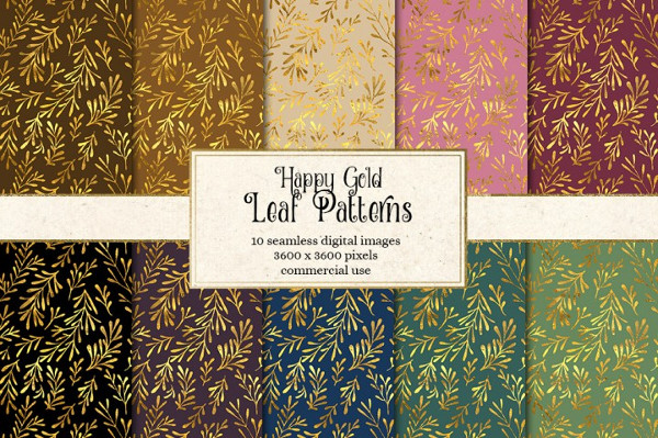 Happy Leaf Gold Pattern Templates