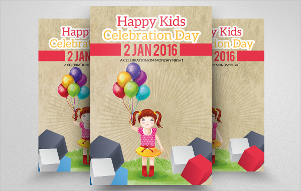 Happy Kids Birthday Celebration Flyer
