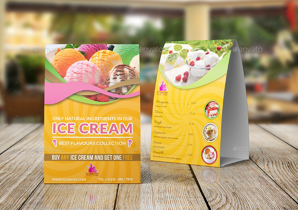 ICE Cream Table Tent Design