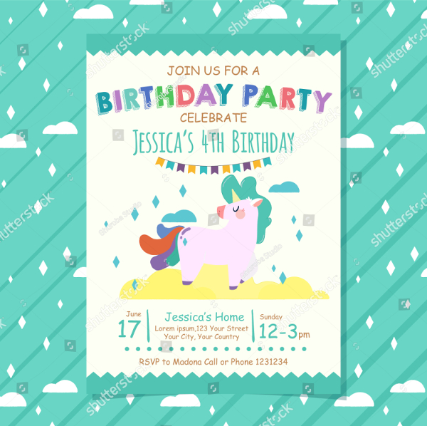 Kid Birthday Invitation Banner And Flyer