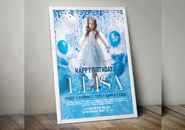 Kid Birthday Invitation Flyer Template