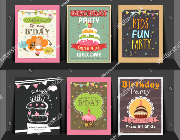Kid Birthday Invitation Flyers Set