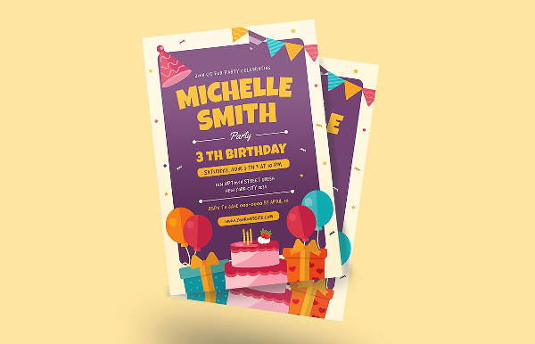 Best Colorful Birthday Invitation Flyer Template