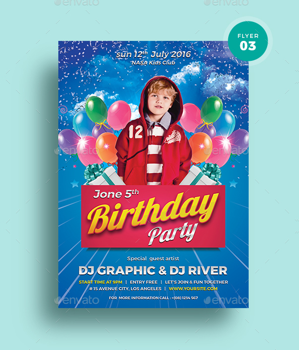 Kids Birthday Invitation Flyer Bundle