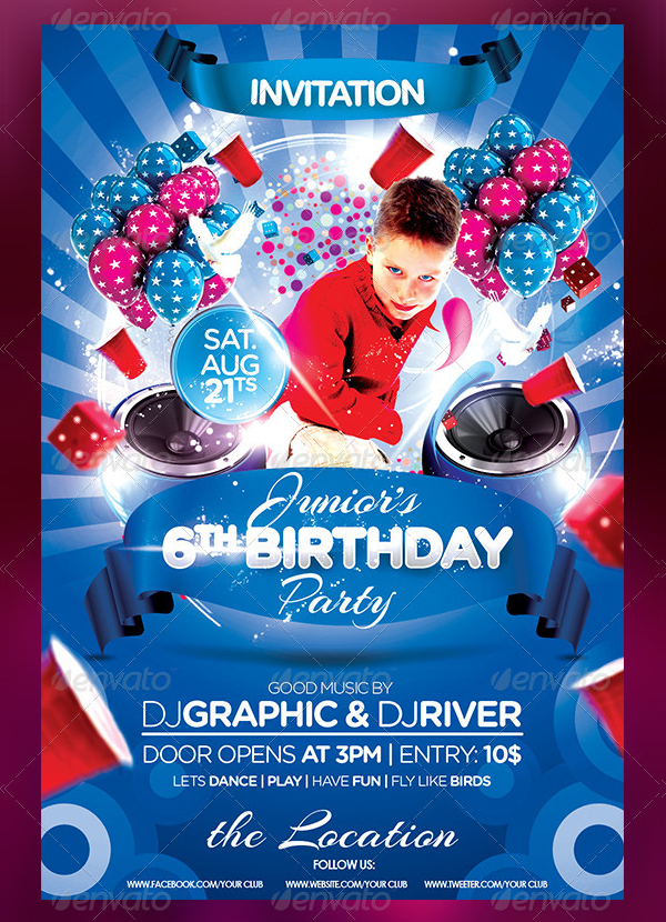 Kids Birthday Cake Flyer Invitation
