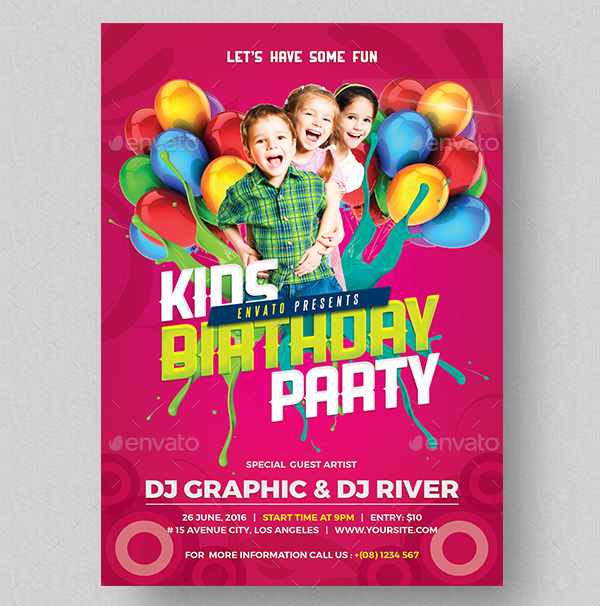 Kids Birthday Invitation Design Flyer