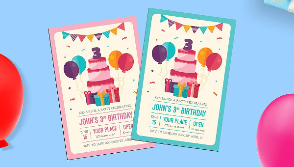 Kids Birthday Invitation Flyer Template