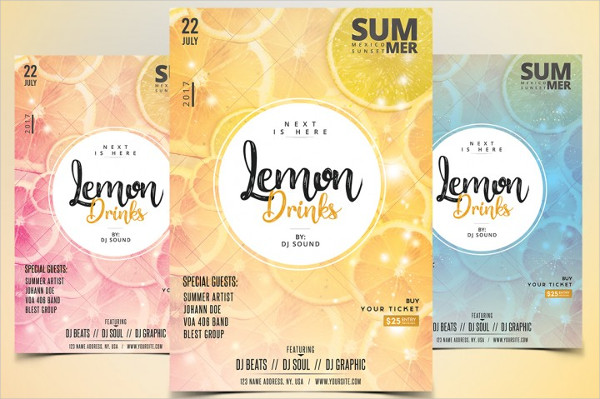 Lemon Drinks Party Flyer Templates